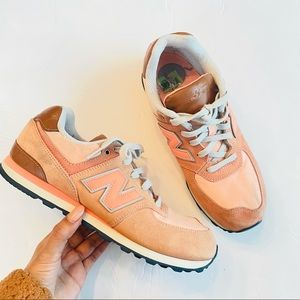 new Balance 574 coral brown sneakers shoes size 7